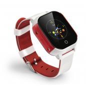 Школьник-Тач белый+красный - часы телефон GPS трекер с цветным сенсорным экраном