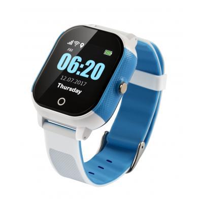 Часы для ребенка белый+синий с GPS трекером, поиском на карте и телефоном для подростка школьника с сенсорным дисплеем Школьник-Тач
